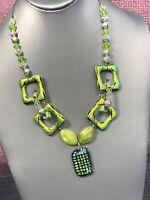 "Ladies Dichroic Glass Statement Unusual Pendant Necklace Chartreuse Black 18"""
