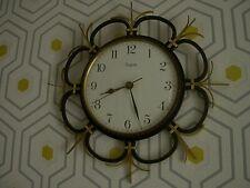 Pendule Horloge SOLEIL Vedette FRANCE Métal Noir & Or VINTAGE 1960 1970 formica