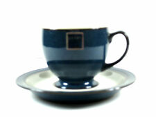 Denby Boston Tea Cup and Saucer Blue White NEW NOS Orig Label Rare