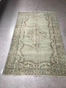Antique White Overdyed Turkish Carpet,Floor Bohemian Vintage Rug,Handwoven Rug