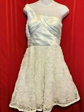 Adrianna Papell Boutique White Formal Size 6 One Shoulder Pleated Top 3D Rosette