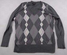 Lane Bryant Women's Sz 22/24 Dark Gray Argyle Long Sleeve V Neck Sweater Cotton