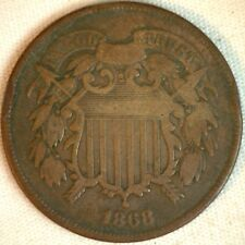 1868 2 Cents Shield United States Type Coin Copper Two Cent VG Very Good K3