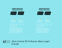 K4 N Decals Penn Central 50 Ft Boxcar Ex-NYC Black Lettering