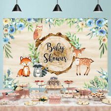 Baby Shower Backdrop Background Watercolor Floral Animal Woodland Party