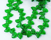 25 Czech Eucalyptus Leaves Glass Beads Green Emerald 12x9mm