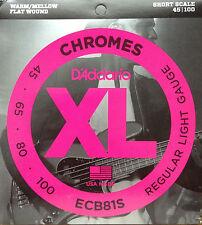 D'Addario ECB81S XL Chromes Flat Wound Bass Guitar Strings 45-100 short scale