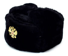 RUSSIAN AUTHENTIC USHANKA BLACK MILITARY HAT STYLE 2 IMPERIAL EAGLE