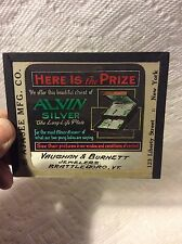 OLD ADVERTISING ALVIN SILVER GLASS SLIDE-VAUGHAN BURNETT VERMONT