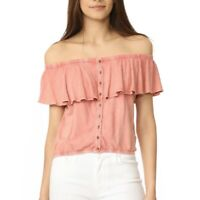 NWT $58 WE THE FREE PEOPLE CORAL LOVE LETTERS OFF SHOULDER CROP TOP Large
