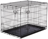 AmazonBasics Double Door Folding Metal Dog Crate Medium 36x23x25 Inches