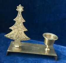 Solid Brass Festive Candle Stick Holder w/ Christmas Tree