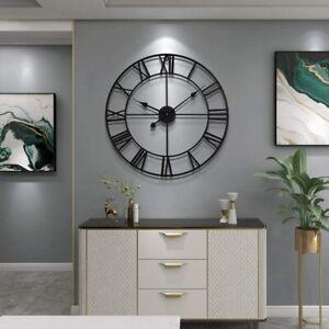 40CM Large Wall Clock Roman Numeral Wall Clock Round Black Metal Clock
