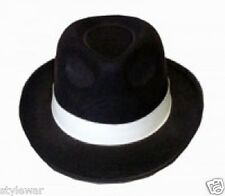 NEW ADULT BLACK GANGSTER MAFIA HAT FELT TRILBY FEDORA AL CAPONE FANCY DRESS HATS