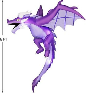 6 FT Inflatable Halloween Flying Dragon LED Lights Outdoor Decoration Blow Up