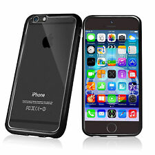 Bumper Gel Case Clear Back Rear Cover iPhone 6s Plus + Glass Screen Protector