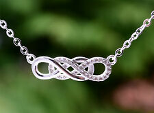 Sterling Silver 925 Double Infinity Necklace on 16-18 inch Rolo Chain