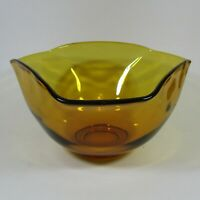 Indiana Glass Amber Tri-Top Salad Serving Bowl Vintage Retro Thanksgiving