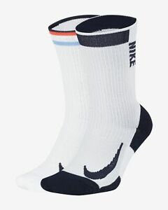 (2 Pair) Nike Multiplier Max Crew Socks Dri Fit White CN6932-902 Running Tennis