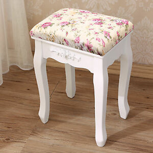 Rose Soft Padded Dressing Table Stool Piano Bedroom Rest Makeup Baroque Vintage