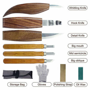 10x Wood Carving tool Chisel Woodworking Whittling Cutter Chip Hand Tool kits