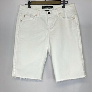 Calvin Klein Denim Shorts 12 White Raw Hem Bermuda 5 Pocket Womens Ladies Jeans