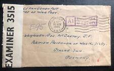 1943 London England To Germany Stalag 344 British Prisoner War Pow Censor Cover