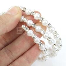 Wedding Bridal Pearl Crystal Rhinestone 3/ 4 Row Stretch Elastic Bangle Bracelet