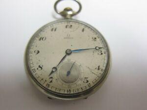 Antique 1930s OMEGA Stainless Steel Pocket Watch Fine Working Half Hunter Case