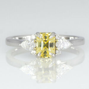 Natural Unheated Yellow Sapphire and Diamonds Ring Ceylon Yellow Sapphire Ring i
