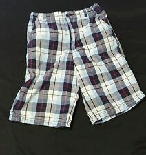 Faded Glory Blue Red White Gray Stripped Shorts size 14 EUC