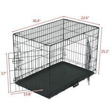 "36"" Pet Kennel Cat Dog Folding Steel Crate Animal Playpen Wire Metal Two doors"