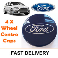 4x BLUE FORD FITS MOST MODELS 54MM ALLOY WHEEL CENTRE CAPS FOCUS FIESTA KA KUGA