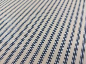Luxury Navy French Ticking Stripe 100% Woven Cotton Fabric Herringbone Curtains