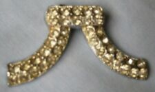 """horns shape 3"""" W X 1 1/2"""" H. Vintage Brooch pave crystals on Silver plate ram"""