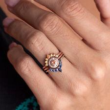 18K 3Pcs Ring/Set  Rose Gold  Topaz Wedding Engagement Gift Size 6-10