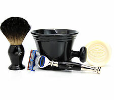 Gillette Fusion RAZOR SHAVING SET BADGER HAIR BRUSH SHAVING MUG & SOAP MEN GIFT