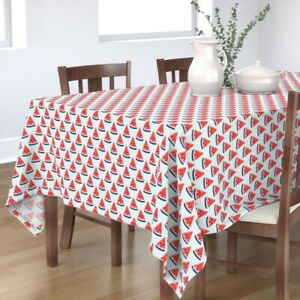 Tablecloth Watermelon Red White And Blue Stars Stripes Summer Cotton Sateen