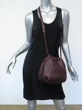 Bottega Veneta Bag Small Intrecciato Leather Drawstring Crossbody Dark Plum