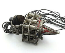 Antique Moroccan Old Berber Huge Silver Hair Ornament Ring Pendant