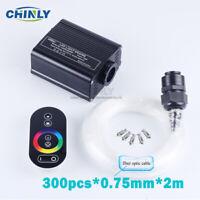 Touch Control Fiber Optic Ceiling Light 16W RGBW Engine 2m 300pcs Starry Effect