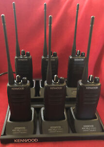 6 Kenwood NX-340 K Two Way Radios Digital And Analog UHF With Charger