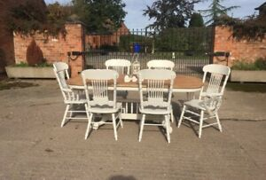 Tiger Oak Extending Dining Table and 6 Chairs ~ Farrow & Ball