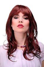 Perruque pour Femmes Longue Rouge Brun Frange Raie que Facile à Coiffer 4038-35