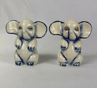 Vintage Salt & Pepper Shakers White and Blue ELEPHANTS Made in Occupied Japan