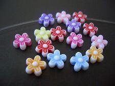 100 8mm Flower acrylic plastic loose beads