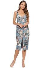 Nicholas The Label - Arielle Floral Quilted Dress | Denim | Size 14 | RRP: $695