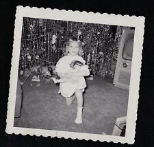 Antique Photograph Little Girl & Doll By Christmas Tree & Retro Television Set