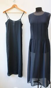 Laura Ashley Semi Sheer Black Silk Dress Size UK 10