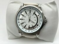 FMD Men Watch White Imitation Leather Band Analog Wrist Watch